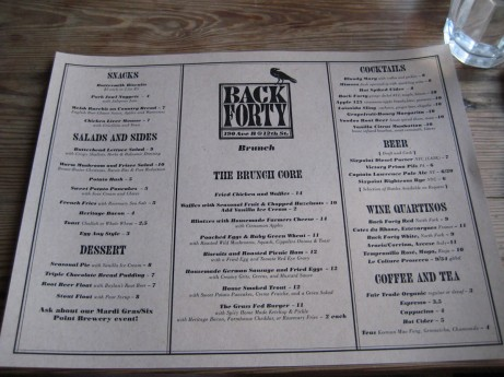 Back Forty Brunch Menu
