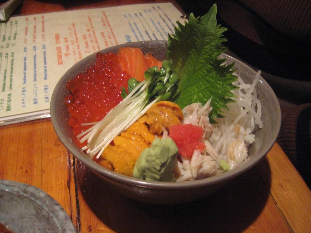 Salmon Sashimi, Salmon Roe, Sea Urchin (Uni), Flying Fish Roe & Crab Meat