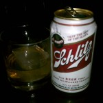 Schlitz beer & a whiskey @ Idle Hands Bar NYC