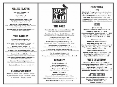 Back Forty Dinner Menu