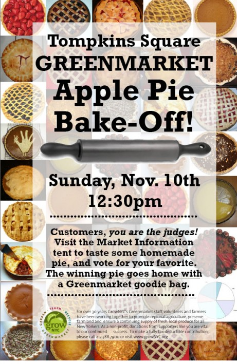 Apple Pie Bake-Off this Sunday at the Tompkins Sq. Greenmarket!